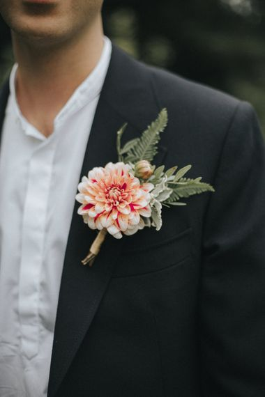 Dahlia Buttonhole | Groom in Gieves and Hawkes Suit | Intimate Wedding at The Olde Bell Pub, Berkshire | Revival Rooms Floral Design, Decor & Styling | Grace Elizabeth Photo & Film