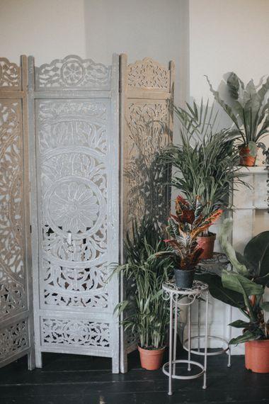 Screen & Plant Pot Wedding Decor | Intimate Wedding at The Olde Bell Pub, Berkshire | Revival Rooms Floral Design, Decor & Styling | Grace Elizabeth Photo & Film