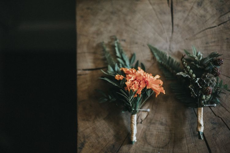 Buttonholes | Intimate Wedding at The Olde Bell Pub, Berkshire | Revival Rooms Floral Design, Decor & Styling | Grace Elizabeth Photo & Film