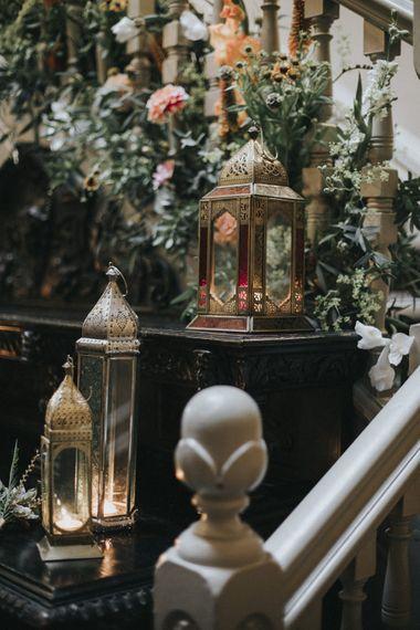 Lantern Wedding Decor | Intimate Wedding at The Olde Bell Pub, Berkshire | Revival Rooms Floral Design, Decor & Styling | Grace Elizabeth Photo & Film
