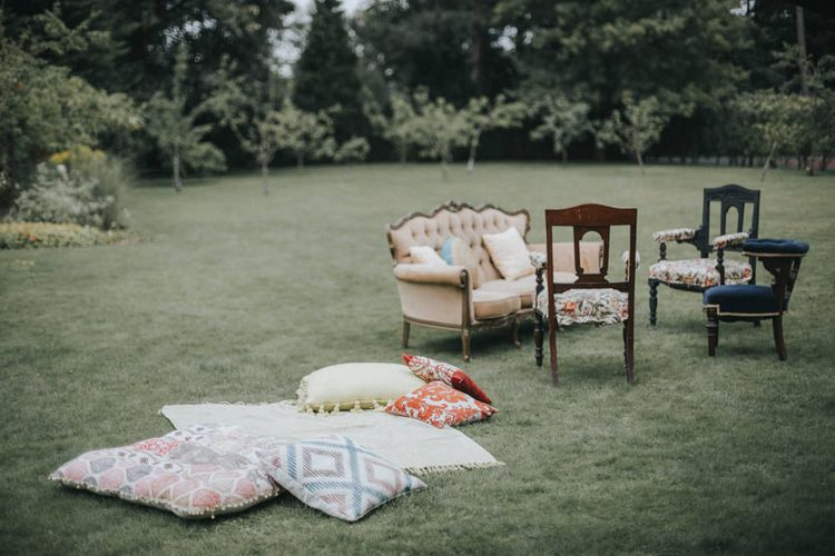 Outdoor Seating Area | Intimate Wedding at The Olde Bell Pub, Berkshire | Revival Rooms Floral Design, Decor & Styling | Grace Elizabeth Photo & Film