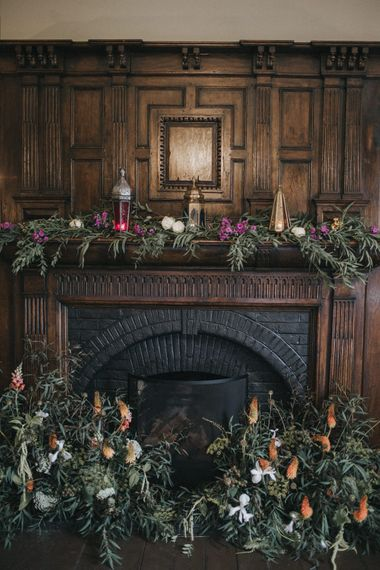 Fireplace Flowers | Intimate Wedding at The Olde Bell Pub, Berkshire | Revival Rooms Floral Design, Decor & Styling | Grace Elizabeth Photo & Film