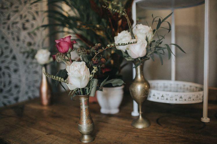 Flower Stems in Goblets | Intimate Wedding at The Olde Bell Pub, Berkshire | Revival Rooms Floral Design, Decor & Styling | Grace Elizabeth Photo & Film