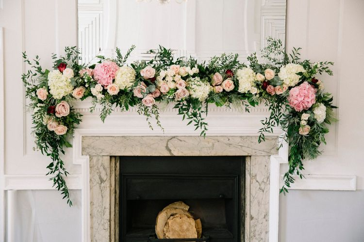 Floral Garland For Fireplace // Waterside Wedding Venue London Winchester House Bride In Rime Arodaky & Groom In Reiss Images From Photography By Krishanthi
