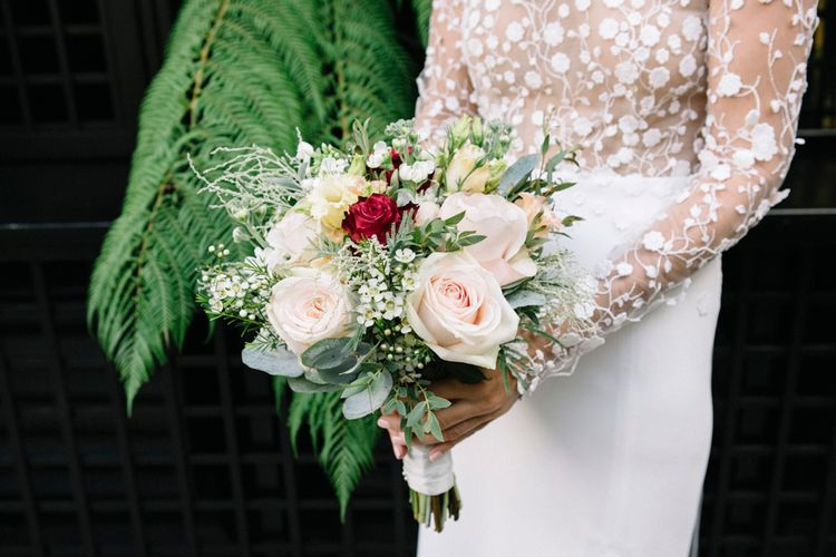 Wedding Bouquet With Pink Roses // Waterside Wedding Venue London Winchester House Bride In Rime Arodaky & Groom In Reiss Images From Photography By Krishanthi