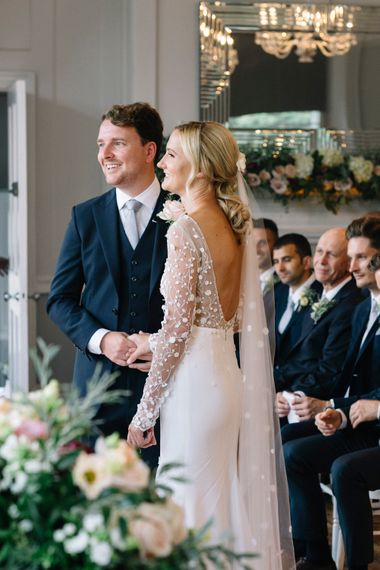Wedding Ceremony At Winchester House // Waterside Wedding Venue London Winchester House Bride In Rime Arodaky & Groom In Reiss Images From Photography By Krishanthi