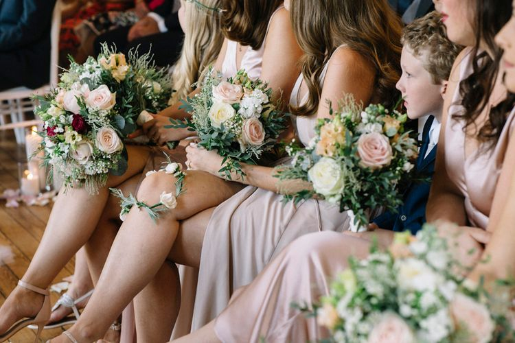 Bridesmaids In Reformation Dresses // Waterside Wedding Venue London Winchester House Bride In Rime Arodaky & Groom In Reiss Images From Photography By Krishanthi