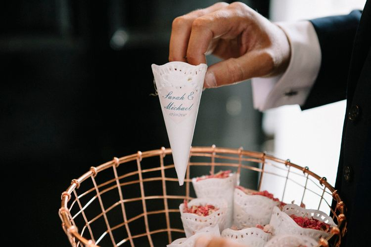 Personalised Confetti Cones For Wedding // Waterside Wedding Venue London Winchester House Bride In Rime Arodaky & Groom In Reiss Images From Photography By Krishanthi