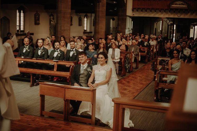 Church ceremony in Manchester for autumn wedding  with  DIY styling
