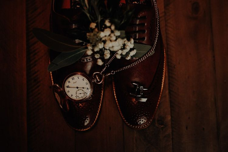 Grooms accessory details for autumn wedding at Victoria Baths in Manchester