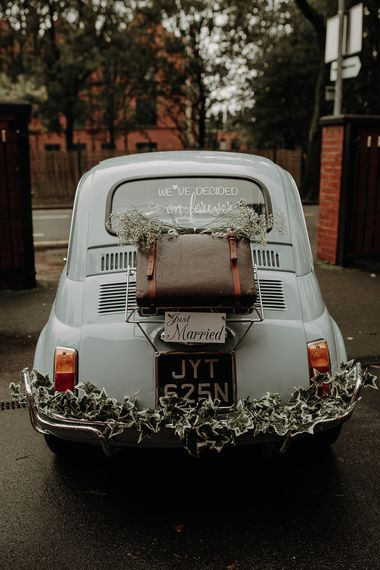 Vintage Fiat 500 wedding car with Just Married sign at Victoria Baths