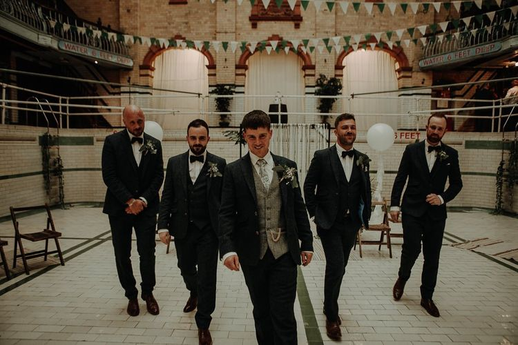 Grooms and his groomsmen at Victoria Baths wedding reception in Manchester