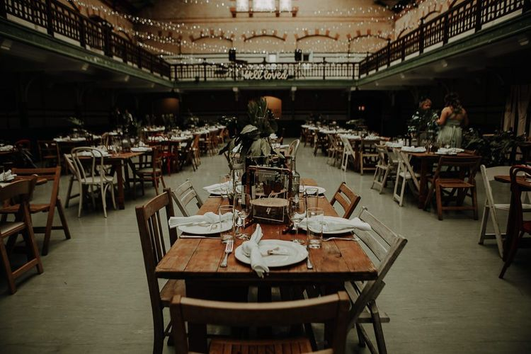 Rustic styling with botanical touches at Victoria Baths DIY reception Manchester