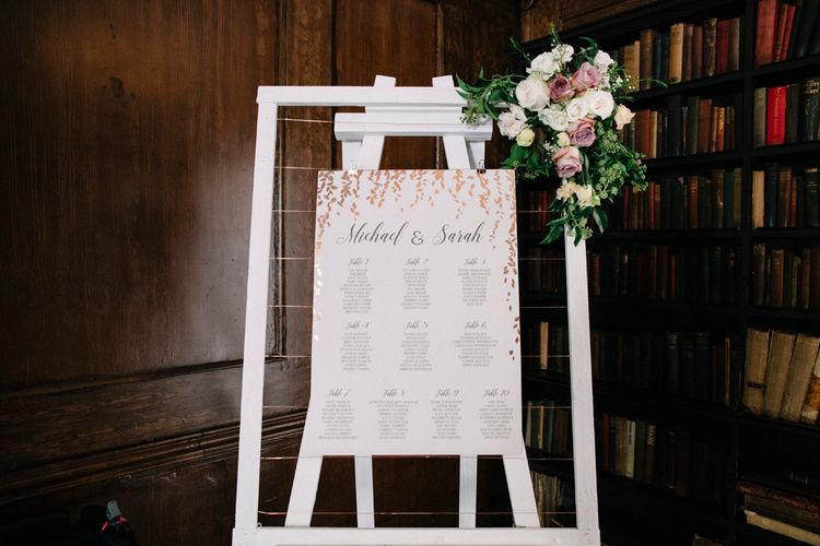 Pink, White & Gold Table Plan For Wedding // Waterside Wedding Venue London Winchester House Bride In Rime Arodaky & Groom In Reiss Images From Photography By Krishanthi