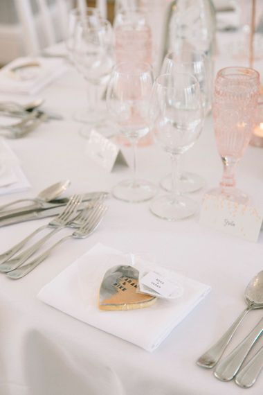 Personalised Biscuit Wedding Favours // Waterside Wedding Venue London Winchester House Bride In Rime Arodaky & Groom In Reiss Images From Photography By Krishanthi