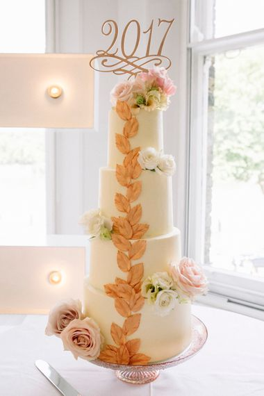 Wedding Cake With Gold Leaf Pattern And Fresh Flowers // Waterside Wedding Venue London Winchester House Bride In Rime Arodaky & Groom In Reiss Images From Photography By Krishanthi