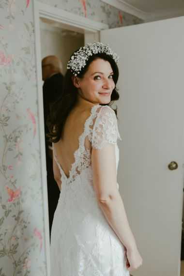 Lace wedding dress for bride at Ramster Hall wedding