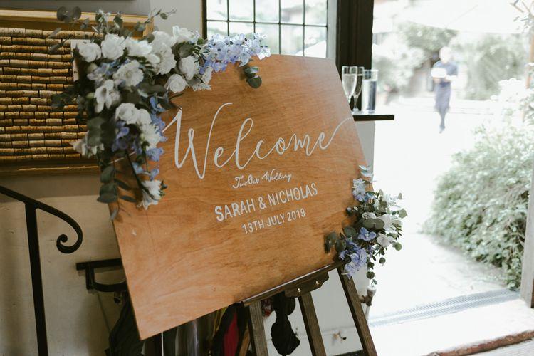 Homemade wedding sign  with flower decor