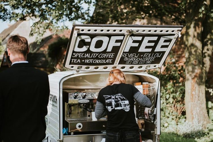 Coffee and hot chocolate truck at outdoor summer celebration