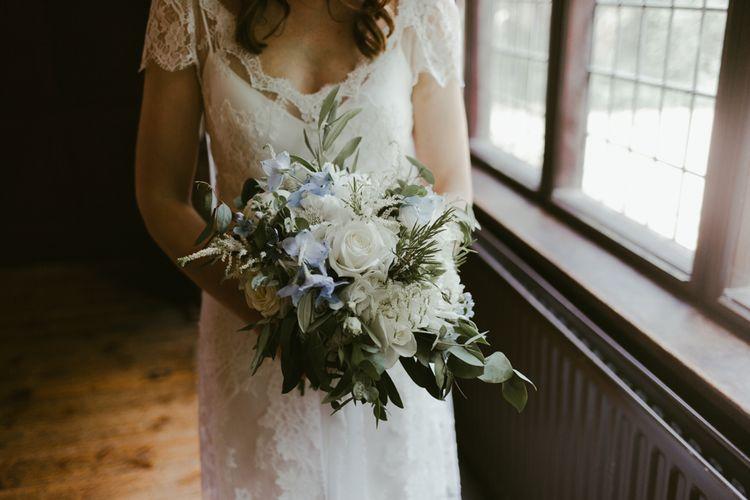 White wedding flower bouquet for bride