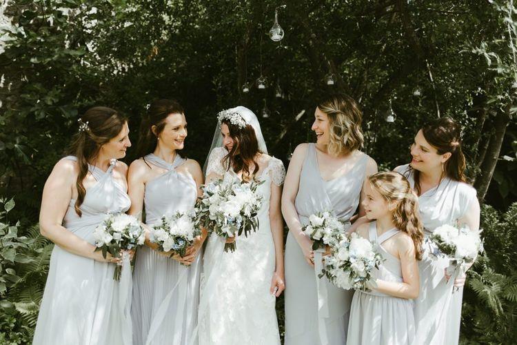 Powder blue bridesmaid dresses at Ramster Hall wedding
