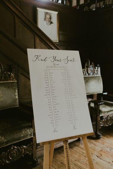 Wedding seating chart at Ramster Hall wedding