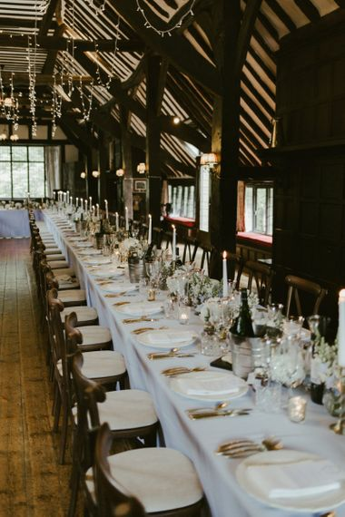 Wedding table set up with flower decor at Ramster Hall