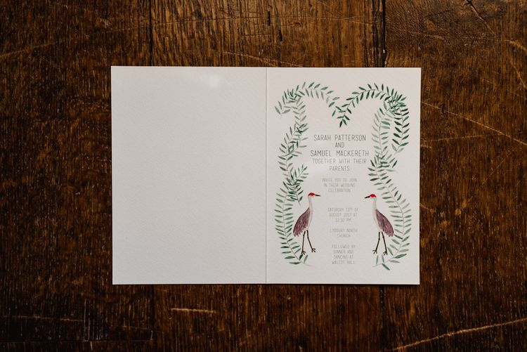 Illustrated Stationery For Wedding // Walcot Hall Wedding Shropshire With Bride In Sequinned Karen Willis Holmes And Groom In Checked Tweed Suit By Charles Tyrwhitt Images The Lous