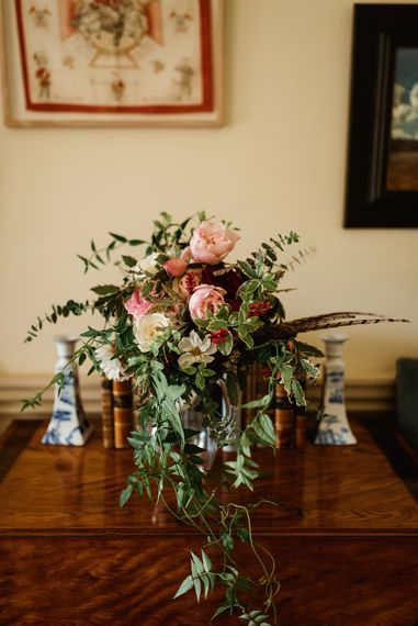 Autumnal Wedding Bouquet With Feathers // Walcot Hall Wedding Shropshire With Bride In Sequinned Karen Willis Holmes And Groom In Checked Tweed Suit By Charles Tyrwhitt Images The Lous