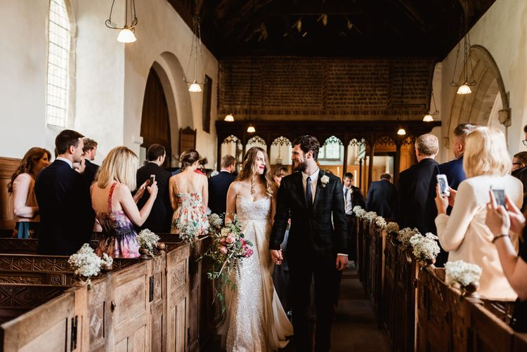 Walcot Hall Wedding Shropshire With Bride In Sequinned Karen Willis Holmes And Groom In Checked Tweed Suit By Charles Tyrwhitt Images The Lous