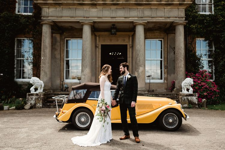 Vintage Yellow Car For Wedding // Walcot Hall Wedding Shropshire With Bride In Sequinned Karen Willis Holmes And Groom In Checked Tweed Suit By Charles Tyrwhitt Images The Lous