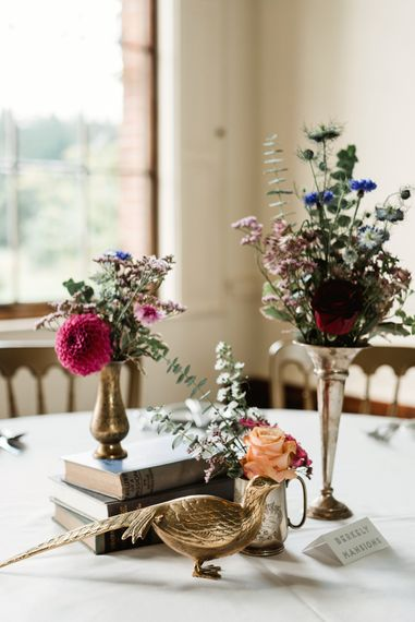 Vintage Books  & Vessels For Wedding Centrepiece // Walcot Hall Wedding Shropshire With Bride In Sequinned Karen Willis Holmes And Groom In Checked Tweed Suit By Charles Tyrwhitt Images The Lous