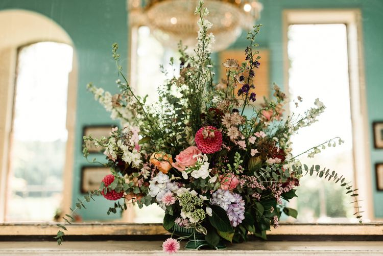 Autumnal Wedding Flowers // Walcot Hall Wedding Shropshire With Bride In Sequinned Karen Willis Holmes And Groom In Checked Tweed Suit By Charles Tyrwhitt Images The Lous