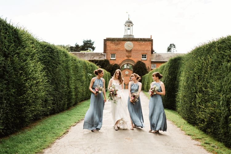 Bridesmaids In Grey Blue Silky Dresses // Walcot Hall Wedding Shropshire With Bride In Sequinned Karen Willis Holmes And Groom In Checked Tweed Suit By Charles Tyrwhitt Images The Lous