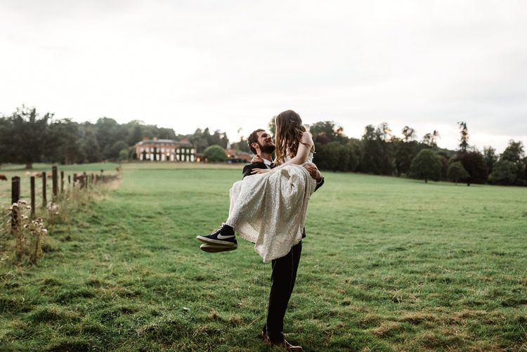 Bride In Trainers // Walcot Hall Wedding Shropshire With Bride In Sequinned Karen Willis Holmes And Groom In Checked Tweed Suit By Charles Tyrwhitt Images The Lous