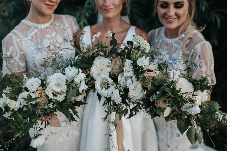 White and Green Loose Bridal Bouquets