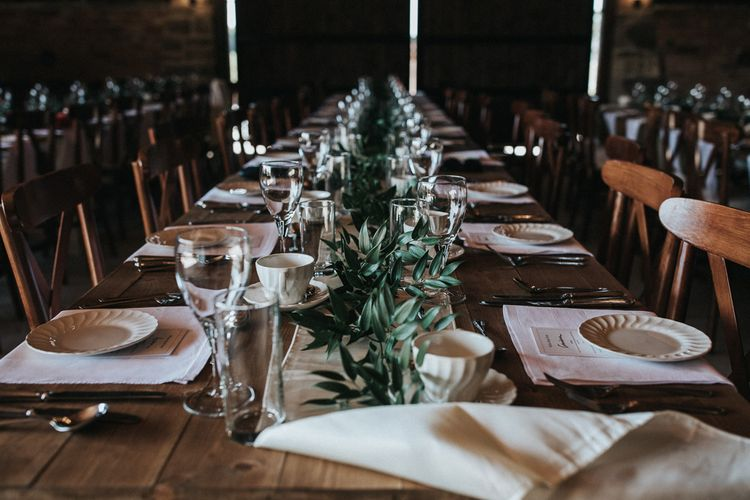 Elegant Table Decor with Greenery Table Runner