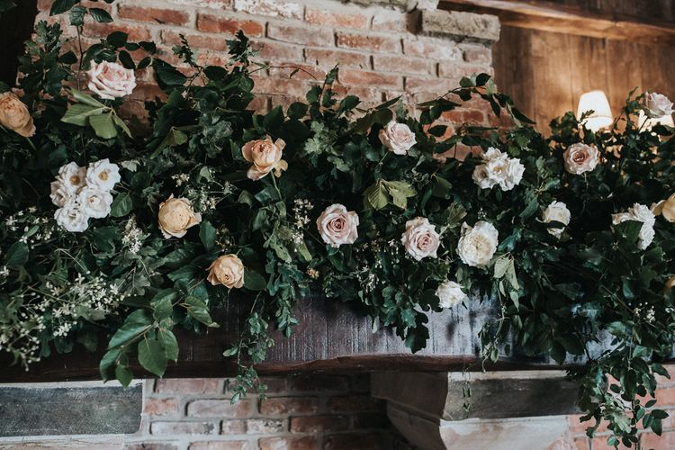 Floral Arrangement of White, Beige and Blush Roses and Foliage