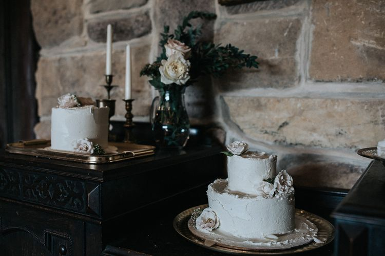 Buttercream Wedding Cakes on Platters and Vintage Chest
