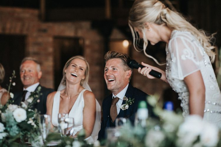 Bridesmaid Speech with Bride and Groom Laughing