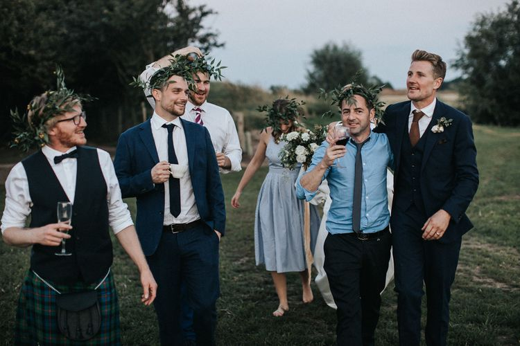 Wedding Guests with Laurel Flower Crowns