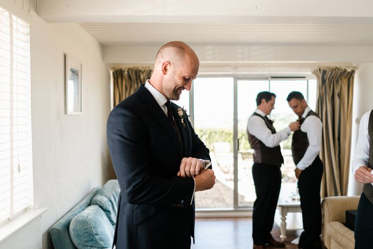 Groom Getting Ready // The Barn At South Milton Wedding With Outdoor Humanist Ceremony And Floral Arch By Flowers By Passion Images From John Barwood Photography