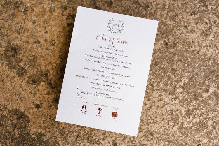 Wedding Stationery // The Barn At South Milton Wedding With Outdoor Humanist Ceremony And Floral Arch By Flowers By Passion Images From John Barwood Photography