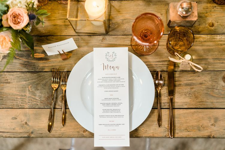 Coloured Glassware For Wedding // The Barn At South Milton Wedding With Outdoor Humanist Ceremony And Floral Arch By Flowers By Passion Images From John Barwood Photography