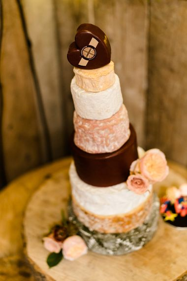 Cheese Tower Wedding Cake // The Barn At South Milton Wedding With Outdoor Humanist Ceremony And Floral Arch By Flowers By Passion Images From John Barwood Photography