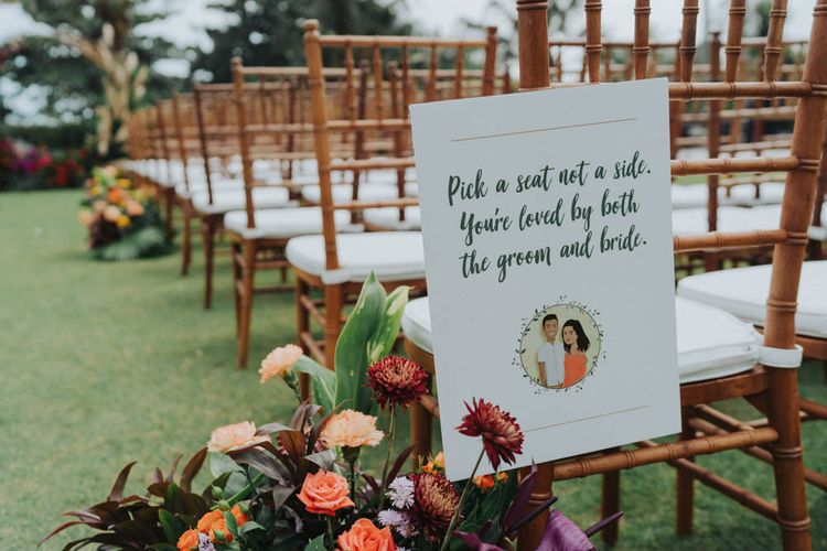 Wedding sign for ceremony at Bali wedding venue