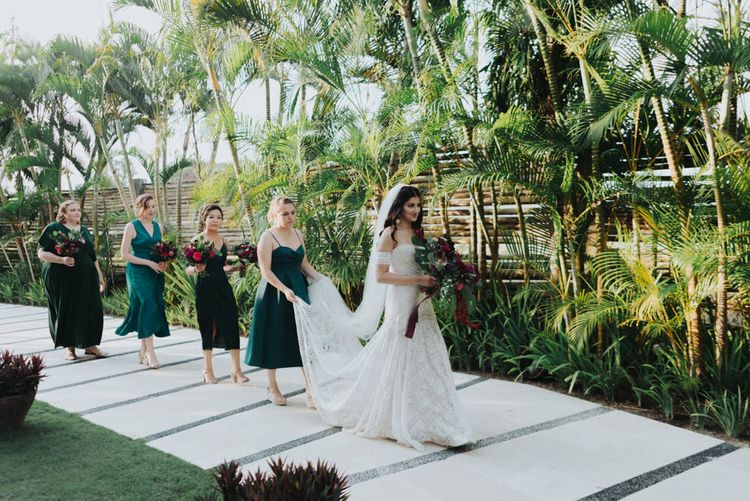 Bridal party making their way to the outdoor ceremony