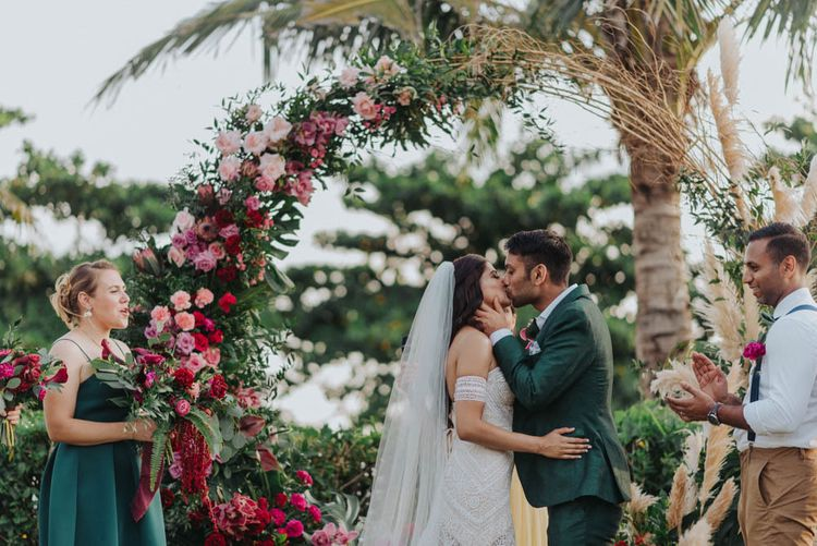 Floral moon gate at Bali wedding venue