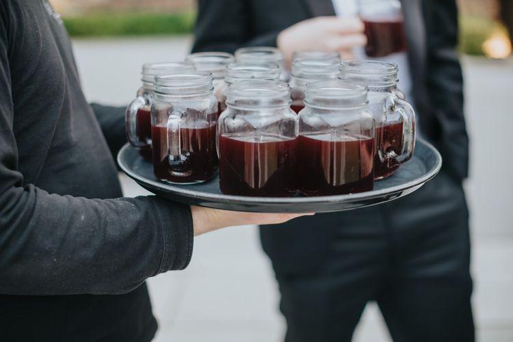 Mulled wine drinks reception for black tie winter  celebration