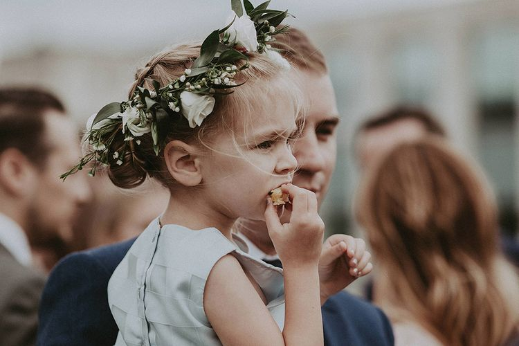 Flower Girl In Blue Dress With Floral Crown // Image By Jason Mark Harris